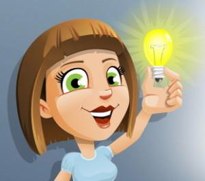dívka se žárovkou